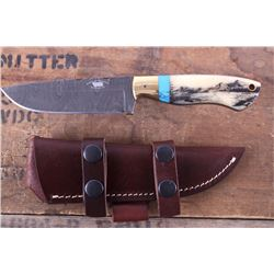 Montana Territory Knives Damascus Scrimshaw Knife