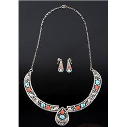 Silver Turquoise & Coral Necklace and Earrings