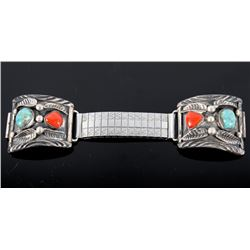 Coral & Turquoise Sterling Silver Watch Band