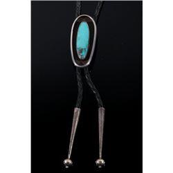 Navajo Silver Shadow Box Turquoise Bolo Tie