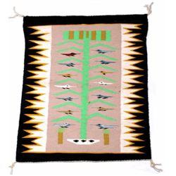 Navajo Tree of Life Pictorial Wool Rug