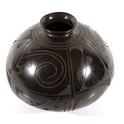 Signed Santa Clara Black Polychrome Pottery Jar