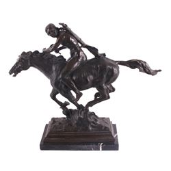 Native American on Horseback Bronze Sculpture