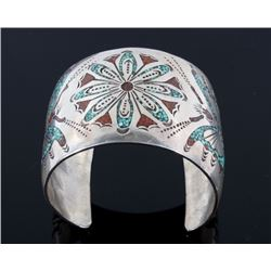 Navajo Silver Coral & Turquoise Chip Inlay Cuff