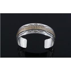 Signed Navajo Sterling Silver & 12K Gold Bracelet
