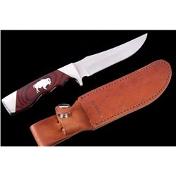 Bear & Son Silver Buffalo Inlaid Knife & Sheath