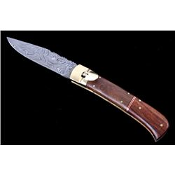 German Lever Lock Damascus Switchblade Knife