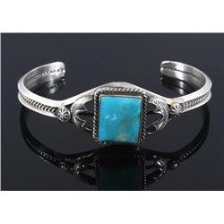 Navajo Signed Sterling Silver & Turquoise Bracelet