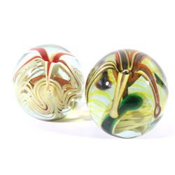 Glass Art Polychrome Flower Paperweights