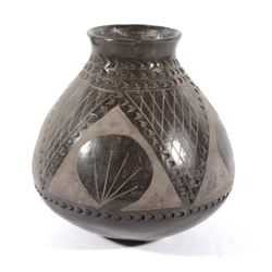 Black and Grey Polychrome Pottery Jar
