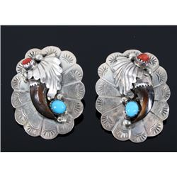 Navajo Silver Turquoise & Coral Bear Claw Earrings