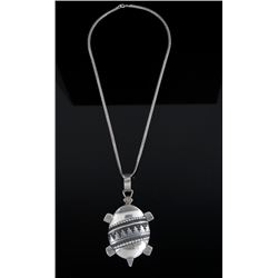 Navajo Signed Sterling Turtle Effigy Necklace