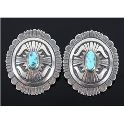 Navajo Signed Sterling Silver & Turquoise Earrings