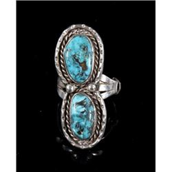 Navajo Sterling Silver & Turquoise Oblong Ring