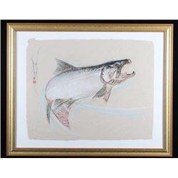 Salmon Jumping Pastel By Dan Chen