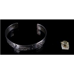 Inuit Char. Figure & Len Adakai Silver Bracelet