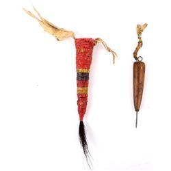 Plains Awl and Beaded Case w/ Horse Hair Tassel