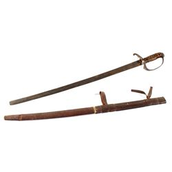 Mexican Cavalry Sword With Leather Sheath c 1830s