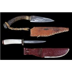 Set of Antler Handle Knives With Leather Sheathes