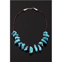 Navajo Sleeping Beauty Turquoise & Heishe Necklace