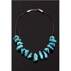 Navajo Sleeping Beauty Turquoise & Heishe Necklace
