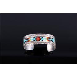 Signed Navajo Sterling Silver Beaded Bracelet