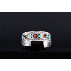 Signed Navajo Sterling Silver Beaded Bracelet