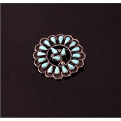 Early Navajo Old Pawn Silver Turquoise Brooch Pin