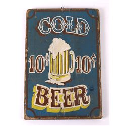 Hand Painted Cold Beer Advertising Sign