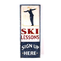 Hand Painted Ski Lessons Advertising Sign