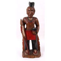 Wood Carved Counter Top Cigar Store Indian