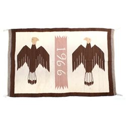 Navajo 1966 Pictorial Twin Bald Eagle Rug
