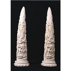 Faux Ivory Animal Decorative Tusks