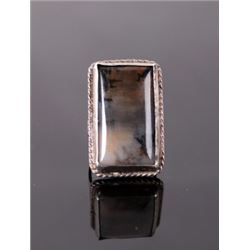 Silver Ring w/ Large Polished Dark Agate Stone