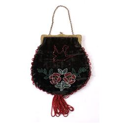 Antique Ladies Felt and Beaded Purse