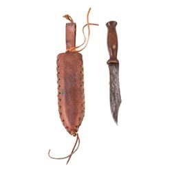 19th Century Hunting Knife and Leather Sheath