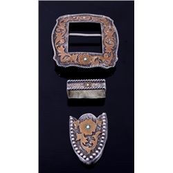 Silver Overlaid Turquoise Floral Ranger Buckle