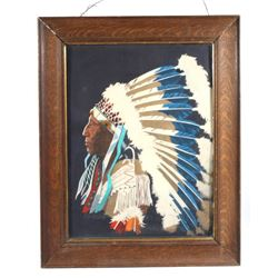 Painted Felt Portrait of Indian Chief