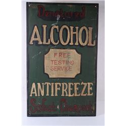 Denatured Alcohol & Antifreeze Free Testing Sign