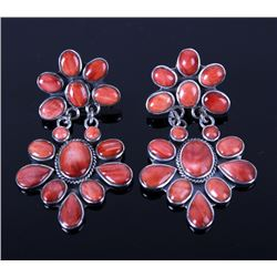 Navajo Red Spiny Oyster Sterling Silver Earrings