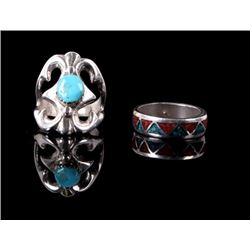 Navajo Silver Turquoise and Multi Stoned Rings.