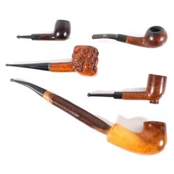 Collection of Assorted Wood Smoking Pipes