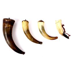 Four Assorted Carved Powder Primer Horns