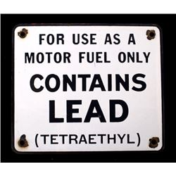 For Use As A Motor/Contains Lead  Sign circa 1985