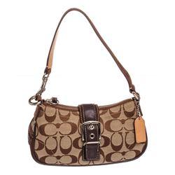 Coach Brown Monogram Canvas Suede Trim Pochette Shoulder Handbag