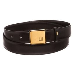 Dunhill Black Leather Gold Buckle Belt