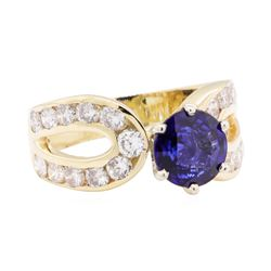 2.67 ctw Sapphire And Diamond Ring - 14KT Yellow Gold