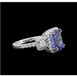 3.35 ctw Tanzanite and Diamond Ring - 18KT White Gold