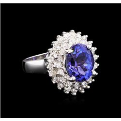 4.63 ctw Tanzanite and Diamond Ring - 14KT White Gold