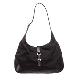 Gucci Black Nylon Leather Jackie Shoulder Bag
